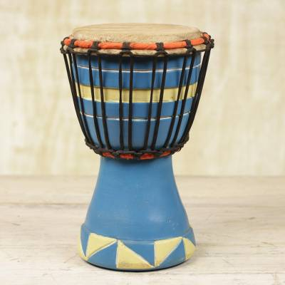 Wood mini djembe drum, 'Triangle Beat' - Artisan Crafted Authentic African Mini Djembe Drum in Blue