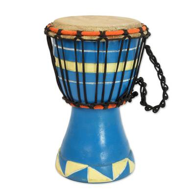 Artisan Crafted Authentic African Mini Djembe Drum in Blue