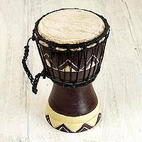 Wood mini djembe drum, 'African Sounds' - Artisan Crafted Authentic African Mini Djembe Drum