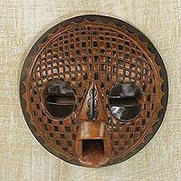 African wood mask, 'Apology' - Handcrafted African Sese Wood Mask from Ghana