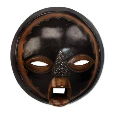 African wood mask, 'Good Money' - Handcrafted African Sese Wood Mask from Ghana