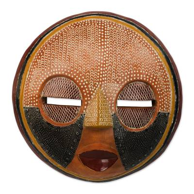 African wood mask, 'There is Time' - Handcrafted African Sese Wood Wall Mask from Ghana