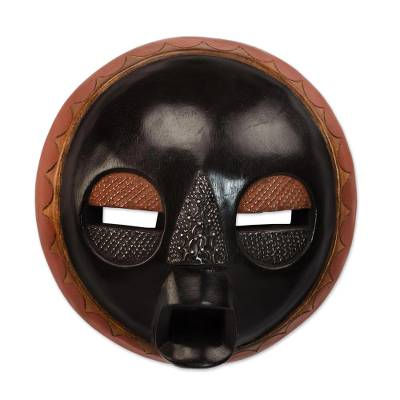 African wood mask, 'Good to Love' - Handcrafted Black Sese Wood African Wall Mask from Ghana