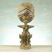 Wood fertility doll, 'Beaded Queen' - Handcrafted Sese Wood Fertility Doll from Ghana