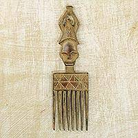 Wood wall art, 'African Comb' - Hand Crafted Wood Wall Art African Comb from Ghana