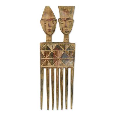 Hand Carved Wood Wall Art Sculpture from Ghana - Twin Comb | NOVICA