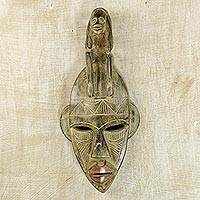 African wood mask, 'Thinking Mask' - Hand Carved African Wood Thinking Mask from Ghana