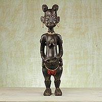 Wood sculpture, 'Yoodi' - Hand Carved Wooden African Fertility Sculpture from Ghana