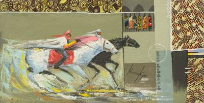 'Nomads' - Signed Impressionist Painting of Horsemen from Ghana