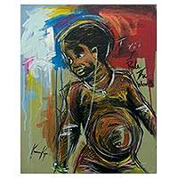 'I Think I Rule The World' - Signed Modern Art Painting of a Child from Ghana
