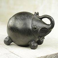 Ceramic sculpture, 'Round Elephant' - Wood-Fired Handcrafted Ceramic Elephant Sculpture from Ghana