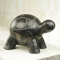 Ceramic sculpture, 'Round Turtle' - Wood-Fired Handcrafted Ceramic Turtle Sculpture from Ghana