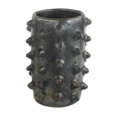 Handcrafted Decorative Ceramic Vase From Ghana Pointed Cylinder