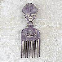 Wood wall art, 'Purple Osele' - Wood Comb-Shaped Wall Art in Purple from Ghana