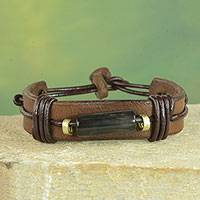 Men's leather and horn wristband bracelet, 'Natural Fusion in Brown' - Horn and Dark Brown Leather Wristband Bracelet from Ghana