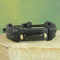 Men's leather and horn wristband bracelet, 'Natural Fusion in Black'