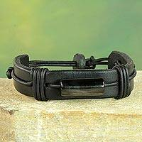 Men's leather and horn wristband bracelet, 'Bound Strength in Black'