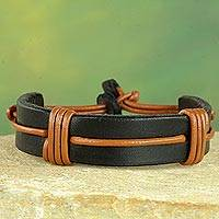 Men's leather wristband bracelet, 'Enduring Strength'