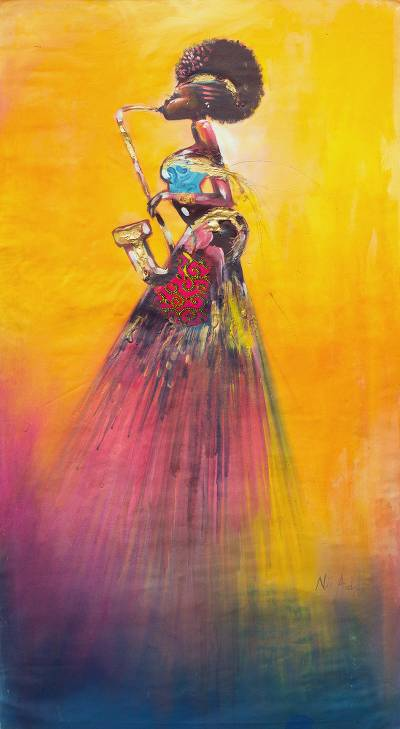 'On The Saxophone' - Signed Expressionist Painting of a Saxophone Player