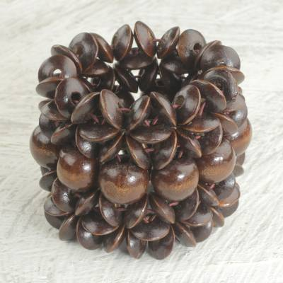Wood beaded stretch bracelet, 'Giving Aseda in Dark Brown' - Sese Wood Beaded Bracelet in Dark Brown from Ghana