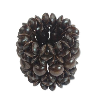 Wood beaded stretch bracelet,