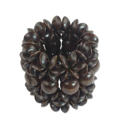 Sese Wood Beaded Bracelet in Dark Brown from Ghana
