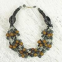 Ceramic and recycled glass torsade necklace, 'Deka Harmony' - Ceramic and Recycled Glass Torsade Necklace from Ghana