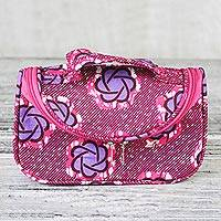 Cotton cosmetics case, 'Obaa Sima' - Cotton Cosmetics Case with Handle and Interior Compartments