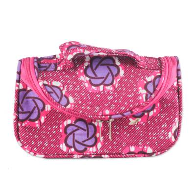 Cotton Cosmetics Case with Handle and Interior Compartments