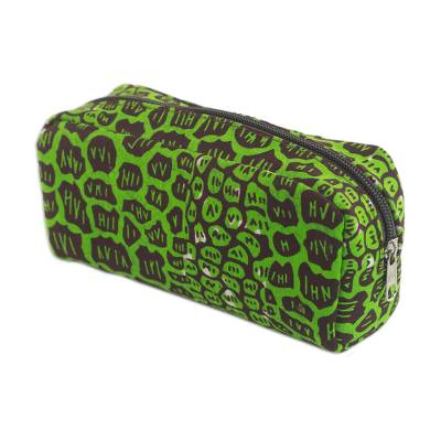 Cotton Cosmetic Case with Kiwi and Mahogany Spots from Ghana