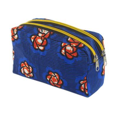 Cotton Cosmetic Case in Royal Blue and Flame from Ghana