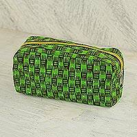 Cotton cosmetic bag, 'Vibrant Kiwi' - Cotton Cosmetic Bag in Kiwi and Mahogany from Ghana