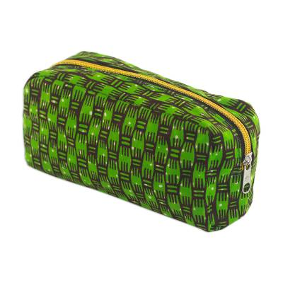 Cotton Cosmetic Bag in Kiwi and Mahogany from Ghana