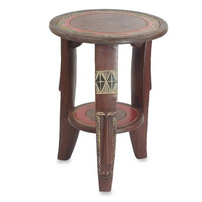Handcrafted Sese Wood Red Accent Table from Ghana