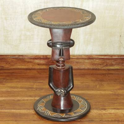 Wood accent table, 'Fulani Circles' - Sese Wood Person-Shaped Accent Table from Ghana