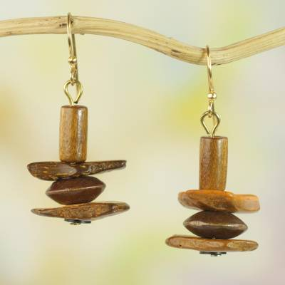 Wood and coconut shell dangle earrings, 'Prosperous Sika' - Ghanaian Handcrafted Sese Wood and Coconut Shell Earrings