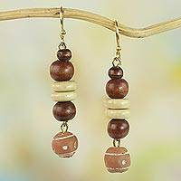 Wood and ceramic dangle earrings, 'Remembrance Beads'