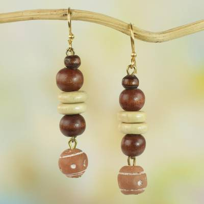 Wood and ceramic dangle earrings, 'Remembrance Beads' - Handcrafted Sese Wood and Ceramic Earrings from Ghana