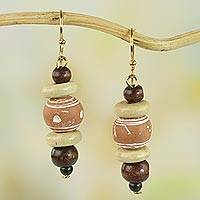 Wood and ceramic dangle earrings, 'Sweet Beads' - Sese Wood and Ceramic Dangle Earrings from Ghana