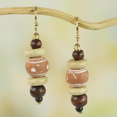 Wood and ceramic dangle earrings, 'Sweet Beads' - Sese Wood and Ceramic Dangle Earrings from Ghana