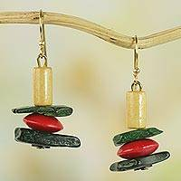 Wood and coconut shell dangle earrings, 'Prosperous Colors' - Colorful Sese Wood and Coconut Shell Earrings from Ghana