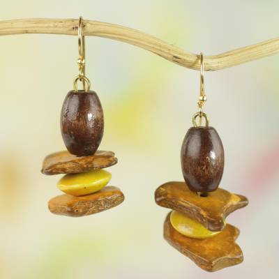 Wood and coconut shell dangle earrings, Yellow Prosperity