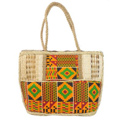Novica Natural fiber handbag, African Charm