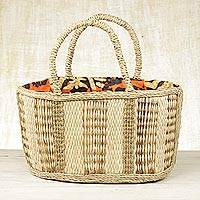 Natural fiber tote handbag, 'Savvy Shopper' - Artisan Crafted Natural Fiber Handle Handbag from Ghana