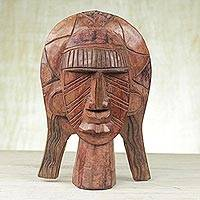 African wood mask, 'Egyptian Gift' - Handcrafted Brown Sese Wood African Mask from Ghana
