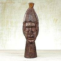 African wood mask, 'Basasa Marriage' - Sese Wood and Aluminum African Marriage Mask from Ghana