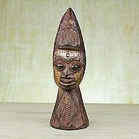 African wood mask, 'My Ore' - Sese Wood and Aluminum Friendship Mask from Ghana