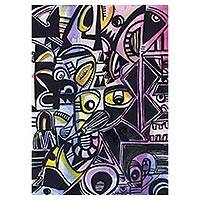 'Gathering of the Ancestral Spirits' - Watercolor and Ink Cubist Painting from Ghana