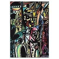 'Group of Elders' - Signed Colorful Cubist Painting from Ghana