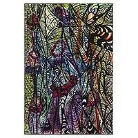'Power of a Woman' - Multicolored Expressionist Painting of Women from Ghana